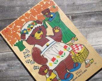 "Vintage Wooden Fisher-Price Puzzle, ""BEAR and CUBS"" Tray Puzzle"