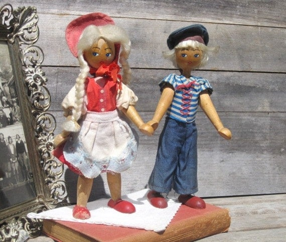 Vintage Polish Dolls Pair of 1950s Wooden Clothespin Dolls, Traditional Polish Doll Outfit, Sailor Outfit, Treasury Item