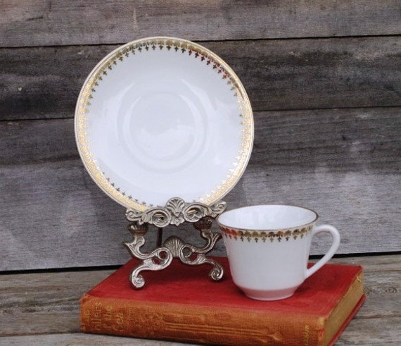 Vintage Seltmann Weiden Bavaria W. Germany Demitasse Cup and Saucer - Porcelain, White, Gold, Espresso, Small Teacup and Saucer