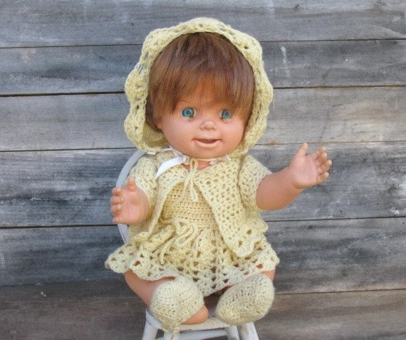 Vintage Baby Smile 'n Frown by Mattel - 1965, Doll, 13 Inch Doll, 6-PC Yellow Crocheted Outfit, Collectible Doll