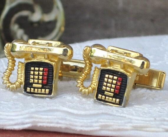 Vintage 3D RUGIN Touch Tone Phone Cufflinks, Cuff Links, Mens Accessories