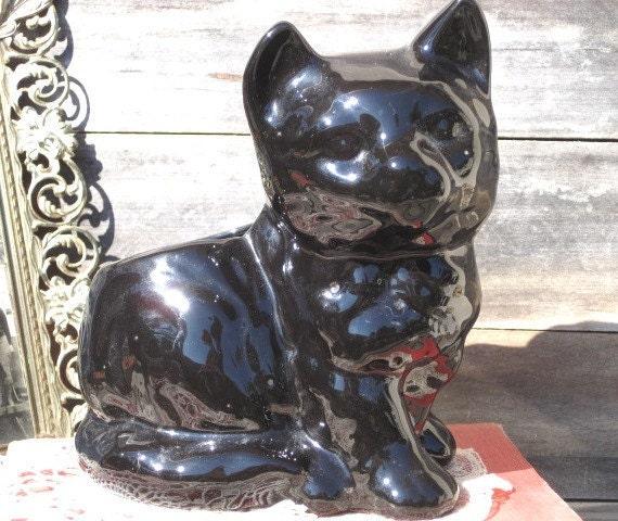 Vintage Black Cat Planter, Home Decor, Halloween Decor, Gardening