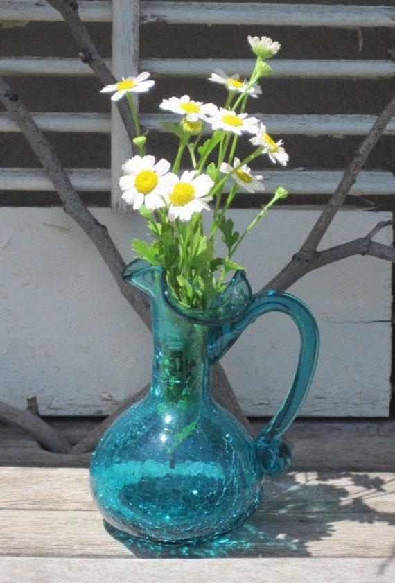 Vintage Aqua Crackle Glass Jug Vase Ruffled By Vintagebykanina