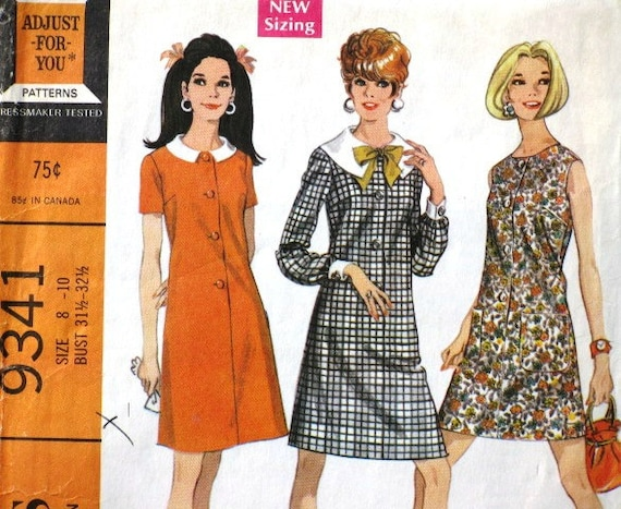 Vintage McCall's 9341 Printed Sewing Pattern, Misses' Dress in Three Versions,1960s Mod Dress