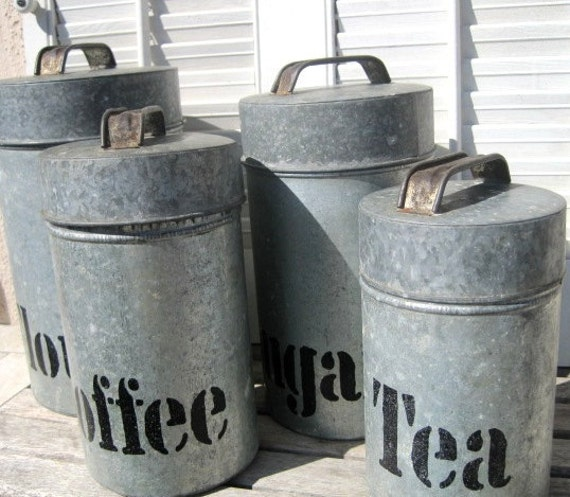 Reserved For Caos1 Vintage Galvanized Metal Canister Set