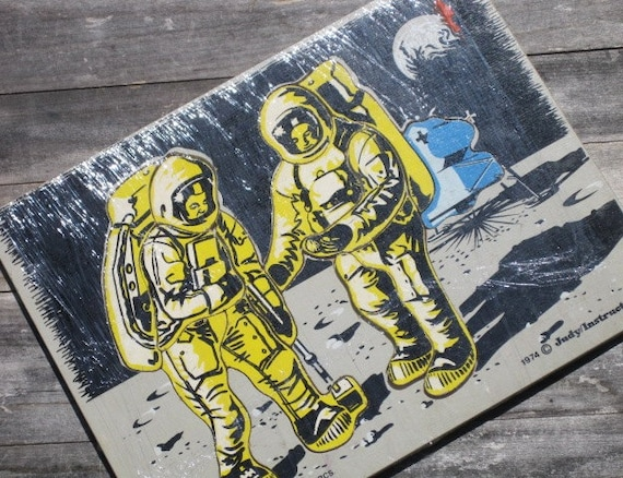 """Vintage Rare Judy/Instructo """"Man on the Moon"""" Frame Tray Puzzle"""