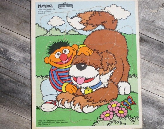 """Vintage Wooden Playskool Puzzle, """"ERNIE AND BARKLEY"""" Frame Tray Puzzle"""
