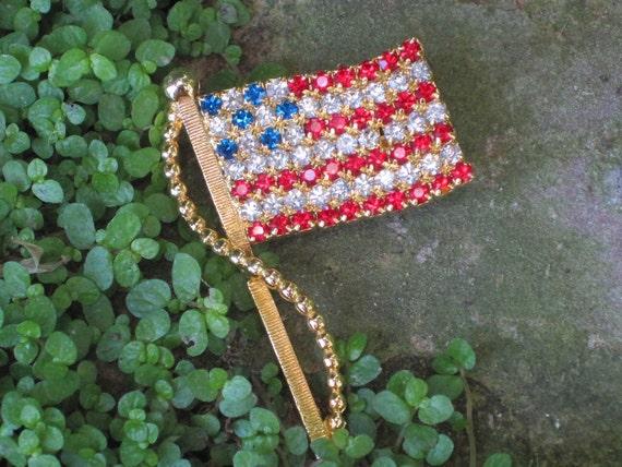 Vintage Red White and Blue American Flag Brooch Swarovski Crystals, Patriotic Brooch, July 4th
