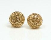 shiny disco ball  earrings / gold