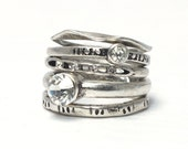 Rustic silver stacking rings-set of 5 / sz7