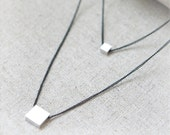 Silver Square charm layered Necklace with black chain