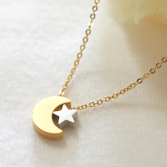 Crescent moon and tiny star necklace