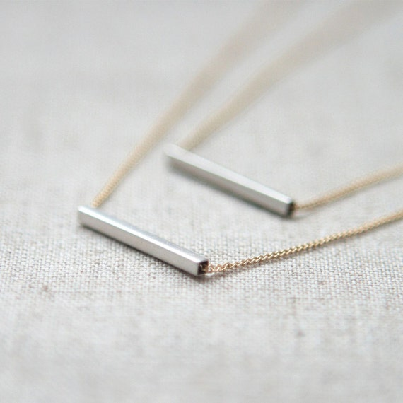 Silver bar layered Necklace with gold chain