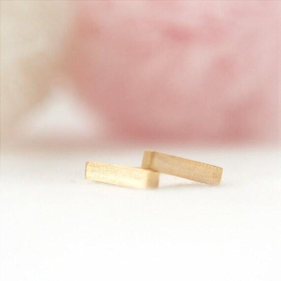 Tiny Golden Bar Earrings