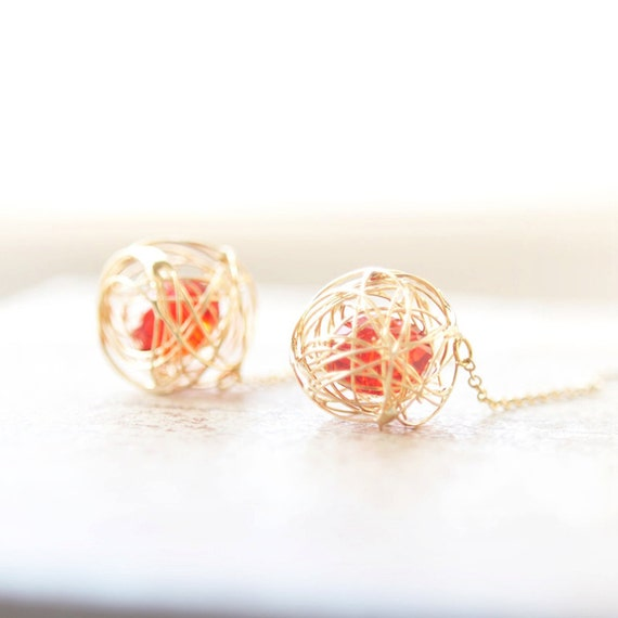 Wire Ball earrings with Red beads
