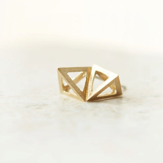 3D Pyramid Earrings / choose your color / gold, silver and pink gold