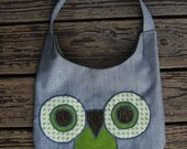 SALE - Owl Purse - Slouchy Hobo Bag