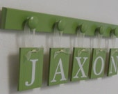 Green Baby Nursery Alphabet Letters Children Sign Set Includes JAXON 5 Wooden Hooks Light Green