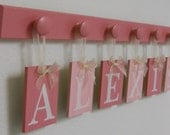 Baby Girl Name Wall Hanging Sign Set Includes 6 Wooden Hooks Painted Pinks and Light Pink. Custom Hanging Letters - ALEXIS