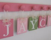 Personalized Children - Children Decor Pink and Green 6 Wooden Hooks Baby Nameplate - JAYCIE