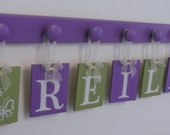Purple and Green Nursery Wood Letters Kids Room Hanging Signs REILLY with BUTTERFLIES Nursery Themes Includes 8 Wooden Pegs Painted Lilac