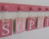 Personalized Children Name Signs for SOPHIE includes 6 Pegs Pink and Light Pink