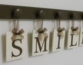 Dentist Gift, Dentistry Wall Decor Wood Sign, Wooden Hanging Sign SMILE - Set Includes 5 Wooden Hooks - Chocolate Brown