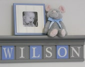 "Baby Gifts, Baby Shower Gift, Unique Baby Boy Gift Personalized 24"" Grey Shelf with 6 Letter Wooden Tiles Painted Gray / Light Blue - WILSON"