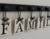 FAMILY Personalized Hanging Letter Sign Set Includes 6 Peg Board Painted - Black. Gift for Wedding, Bridal Shower and Anniversary