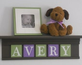 """Children's Decor - Nursery Decor 24"""" Shelf With 5 Wooden Letters Plaques Chocolate Brown, Purple and Green - AVERY"""