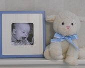 Baby Blue Picture Frame Square Picture Frame 4x4 Photo Shabby Chic Baby Nursery Decor