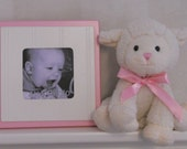 Square Picture Frame White or Linen (Off White) with Light Pink, Pink, Purple or Yellow Trim Baby Girl Nursery Room Decor