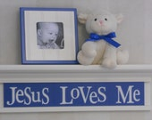 "Baby Boy Nursery Christian Wall Art for Nursery 24"" Shelf Linen Off White and Blue Sign - Jesus Loves Me"