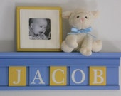 Baby Boy Light Blue Yellow - Baby Boy Nursery Decorations - Baby Name Sign on Shelf with Wooden Letter Tiles