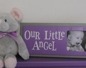 Purple Gray Baby Nursery Decor - OUR LITTLE ANGEL - Picture Frame Sign - Baby Girl Soft Gray and Lavender Nursery