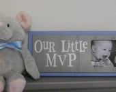 Blue and Gray Nursery Decor - Baby Boy Nursery Sports Photo Frame with Grey Sign - OUR LITTLE MVP