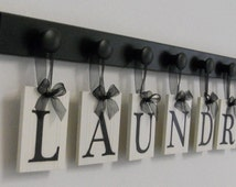 Laundry Room Sign Wall Decor Personalized Hanging Letters includes Wooden 7 Hook Hangers and Letters LAUNDRY in Black