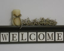 "WELCOME Entryway Shelf - Wall Decor Sign - 30"" Chocolate Brown Shelf with 7 Wooden Letter Plaques - WELCOME - Personalized Shelves and Signs"