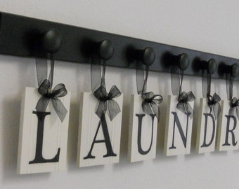Laundry Sign With Hooks Laundry Room Sign  Etsy