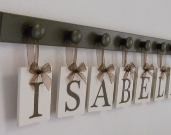 Personalized Children Name Signs for ISABELLE  includes 8 Pegs Chocolate Brown
