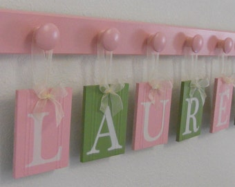 Baby Girl Wooden Letters Sign Includes Personalized Alphabet Wall Art on Pegs Light Green Light Pink Customized Order for Baby Girl Rooms