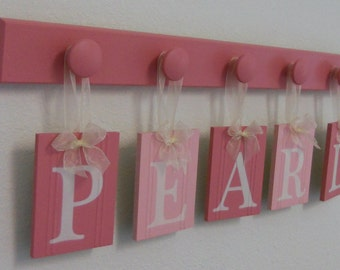 Pearl Wooden Letters for Girls Room Pink Baby Name Wall Letters Personalized for PEARL - 5 Pegs