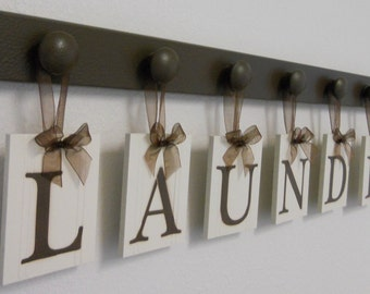 Laundry Room Decor Personalized Hanging Wall Letters includes Wooden Peg Hangers and Letters in Chocolate Brown or Black - LAUNDRY