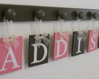 Baby Name Wall Hanging Sign Set Includes Letters ADDISON 7 Wooden Peg Pink and Brown