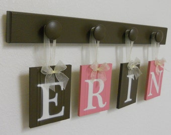 Pink and Brown Nursery Decorating Ideas - Wooden Wall Letters with Peg Hooks Painted Chocolate Brown