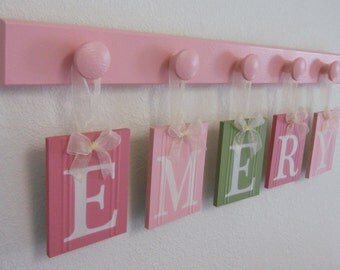 Nursery Decorations Wooden Letters. Set Includes 5 Pegs and Custom Baby Name EMERY Painted Light Green and Pinks Personalized Baby Gift
