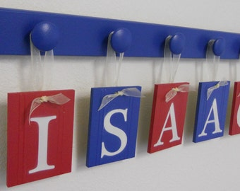 BABY GIFT, Custom Name Set for ISAAC in Blue and Red Includes 5 Wood Hooks, Toddler Gift, Personalized Kids Nursery Decor Christmas Gift