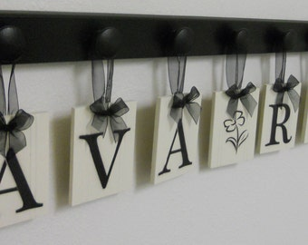 Baby Nursery Wall Letters Custom Boutique Sign AVA ROSE with a FLOWER and 8 Wooden Pegs Black
