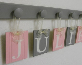 JULIET Nursery Wooden Wall Letters Sign Includes 6 Wooden Pegs in Light Pink and Gray. Personalized Hanging Ribbon Name Tags for JULIET