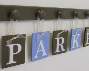 Christening Gift for PARKER Set Includes 6 Pegs and Customized Name in Light Blue and Brown